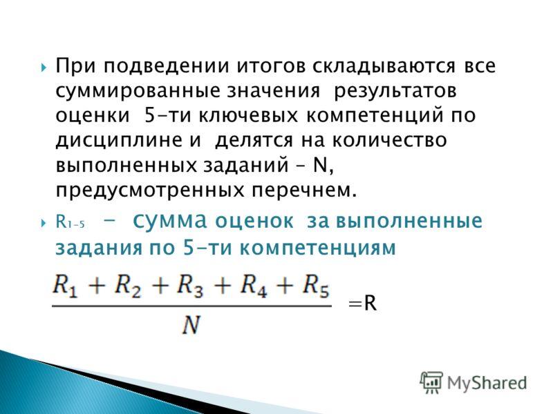 При подведении итогов складываются все суммированные значения результатов оценки 5-ти ключевых компетенций по дисциплине и делятся на количество выполненных заданий – N, предусмотренных перечнем. R 1-5 - сумма оценок за выполненные задания по 5-ти ко
