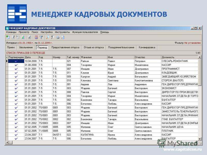 МЕНЕДЖЕР КАДРОВЫХ ДОКУМЕНТОВ www.capitalcse.ru