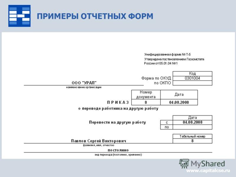 ПРИМЕРЫ ОТЧЕТНЫХ ФОРМ www.capitalcse.ru