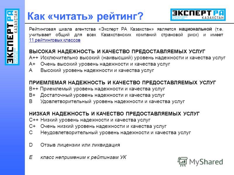 Рейтинговая шкала агентства «Эксперт РА Казахстан» является национальной (т.е. учитывает общий для всех Казахстанских компаний страновой риск) и имеет 11 рейтинговых классов ВЫСОКАЯ НАДЕЖНОСТЬ И КАЧЕСТВО ПРЕДОСТАВЛЯЕМЫХ УСЛУГ A++ Исключительно высоки