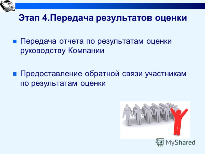 Этап 4.Передача результатов оценки Передача отчета по результатам оценки руководству Компании Предоставление обратной связи участникам по результатам оценки