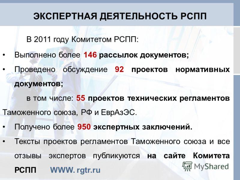 ЭКСПЕРТНАЯ ДЕЯТЕЛЬНОСТЬ РСПП В 2011 году Комитетом РСПП: Выполнено более 146 рассылок документов; Проведено обсуждение 92 проектов нормативных документов; в том числе: 55 проектов технических регламентов Таможенного союза, РФ и ЕврАзЭС. Получено боле