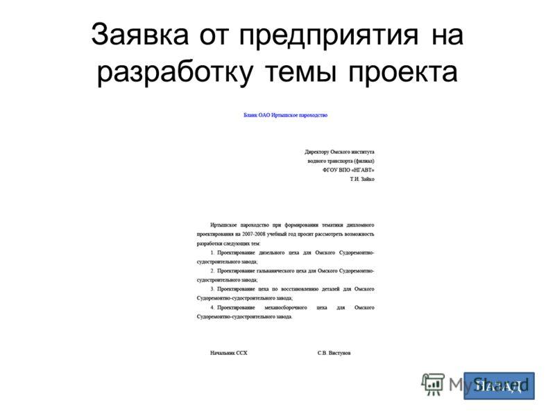 Заявка от предприятия на разработку темы проекта НАЗАД