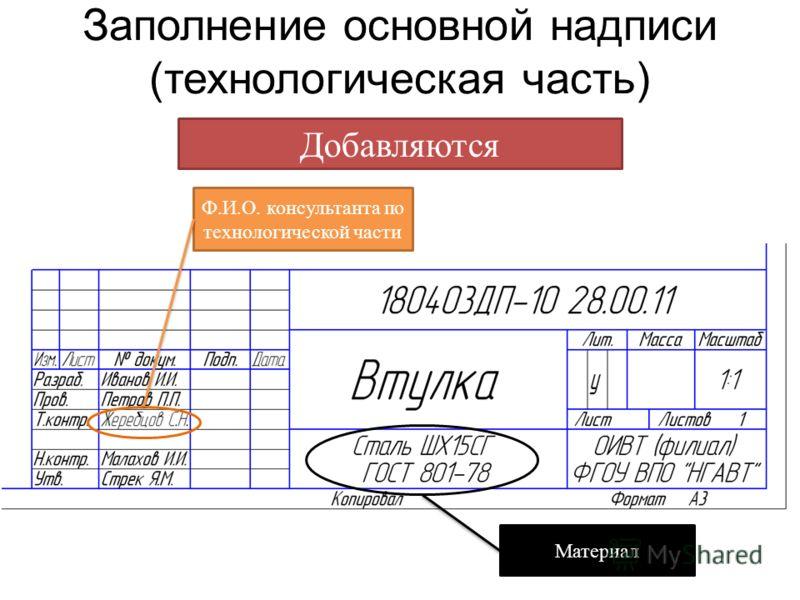 Заполнение основной надписи (технологическая часть) Добавляются Ф.И.О. консультанта по технологической части Материал