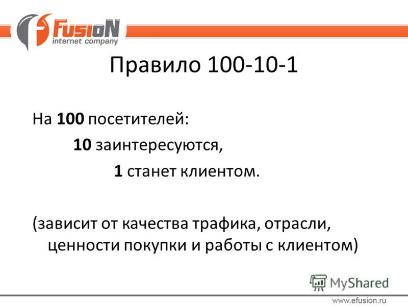 Правило 100-10-1 На 100 посетителей: 10 заинтересуются, 1 станет клиентом. (зависит от качества трафика, отрасли, ценности покупки и работы с клиентом)