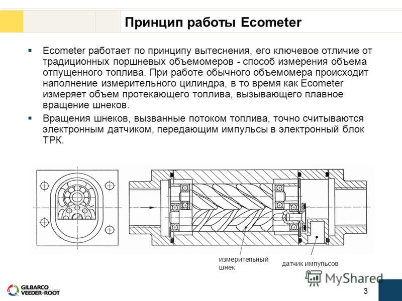 3 Принцип работы Ecometer Ecometer работает по принципу вытеснения, его ключевое отличие от традиционных поршневых объемомеров - способ измерения объема отпущенного топлива. При работе обычного объемомера происходит наполнение измерительного цилиндра
