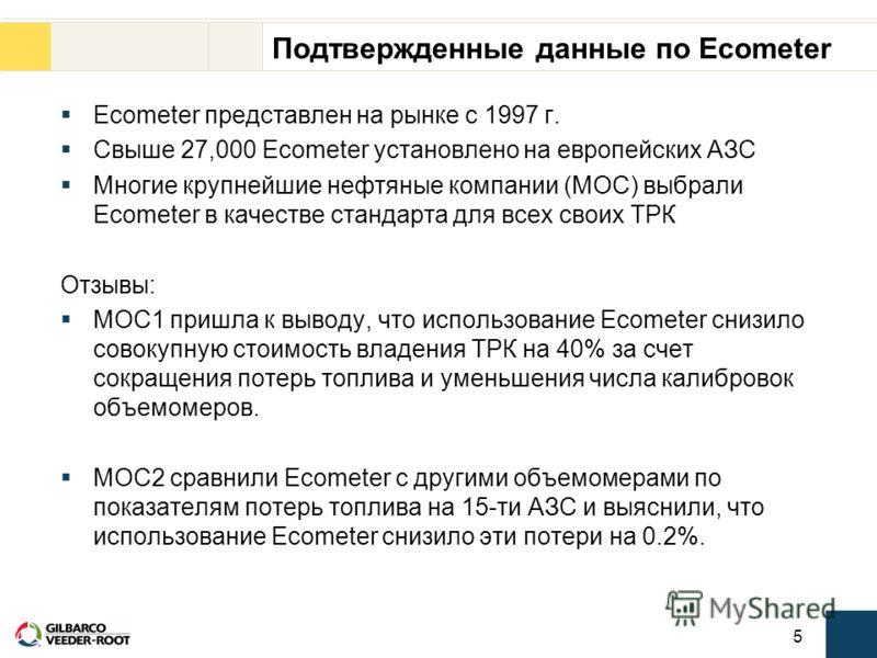 5 Подтвержденные данные по Ecometer Ecometer представлен на рынке с 1997 г. Свыше 27,000 Ecometer установлено на европейских АЗС Многие крупнейшие нефтяные компании (МОС) выбрали Ecometer в качестве стандарта для всех своих ТРК Отзывы: MOC1 пришла к