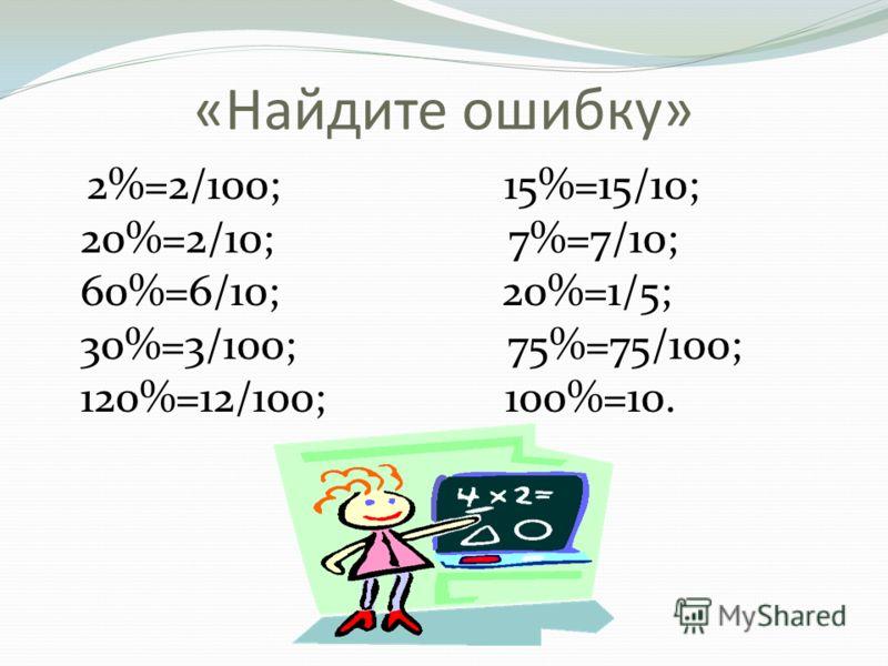 «Найдите ошибку» 2%=2/100; 15%=15/10; 20%=2/10; 7%=7/10; 60%=6/10; 20%=1/5; 30%=3/100; 75%=75/100; 120%=12/100; 100%=10.