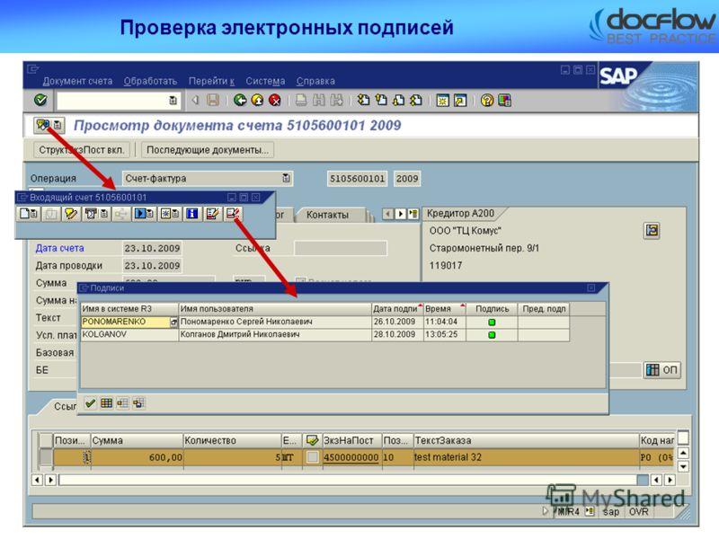 Проверка электронных подписей