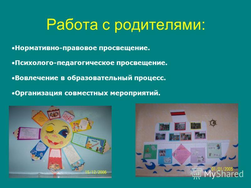 Работа с родителями: Нормативно-правовое просвещение. Психолого-педагогическое просвещение. Вовлечение в образовательный процесс. Организация совместных мероприятий.