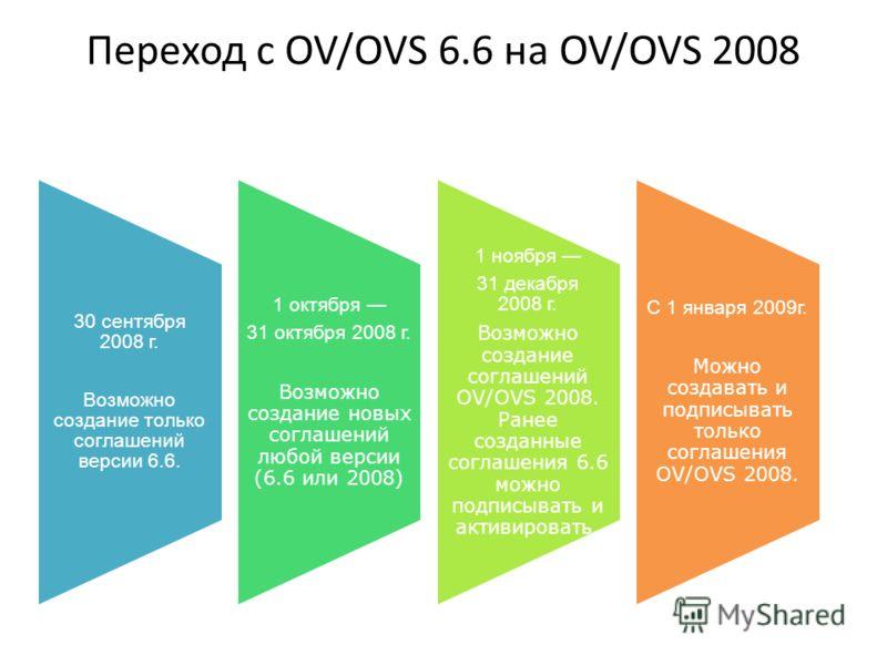 Переход с OV/OVS 6.6 на OV/OVS 2008 30 сентября 2008 г. Возможно создание только соглашений версии 6.6. 1 октября 31 октября 2008 г. Возможно создание новых соглашений любой версии (6.6 или 2008) 1 ноября 31 декабря 2008 г. Возможно создание соглашен