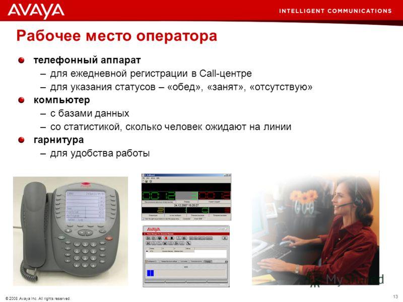 13 © 2008 Avaya Inc. All rights reserved. Рабочее место оператора телефонный аппарат –для ежедневной регистрации в Call-центре –для указания статусов – «обед», «занят», «отсутствую» компьютер –с базами данных –со статистикой, сколько человек ожидают