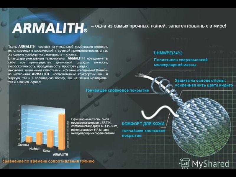 – одна из самых прочных тканей, запатентованных в мире! Ткань ARMALITH состоит из уникальной комбинации волокон, используемых в космической и военной промышленности, а так же самого комфортного материала – хлопка. Благодаря уникальным технологиям, AR