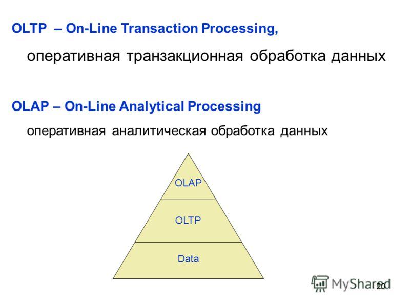 20 OLTP – On-Line Transaction Processing, оперативная транзакционная обработка данных OLAP – On-Line Analytical Processing оперативная аналитическая обработка данных Data OLTP OLAP