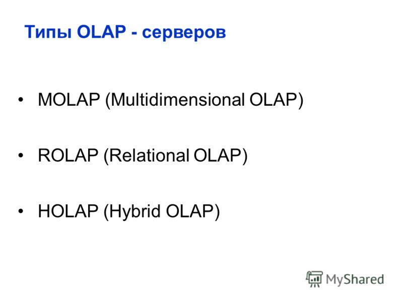 MOLAP (Multidimensional OLAP) ROLAP (Relational OLAP) HOLAP (Hybrid OLAP) Типы OLAP - серверов