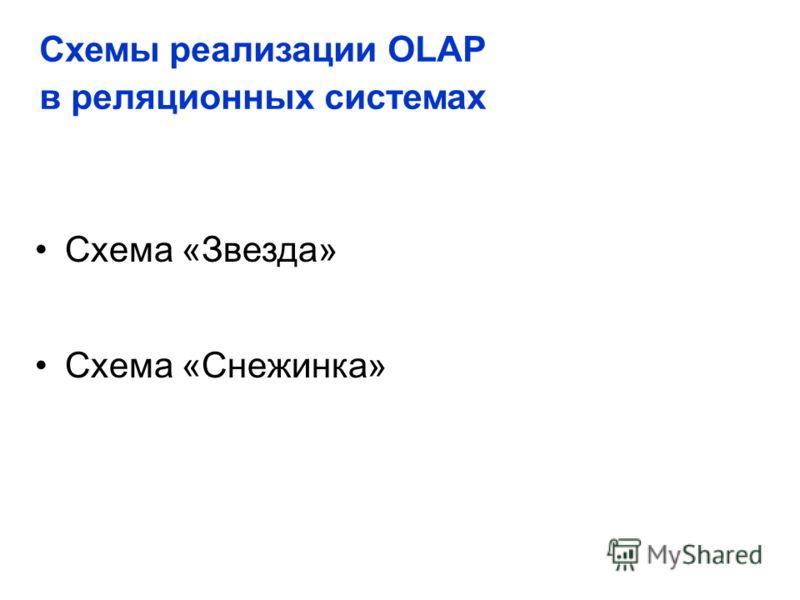 Схема «Звезда» Схема «Снежинка» Схемы реализации OLAP в реляционных системах
