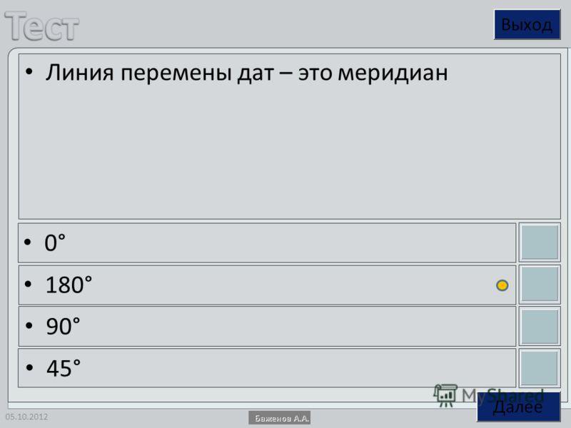 14.08.2012 Линия перемены дат – это меридиан 0° 180° 90° 45°