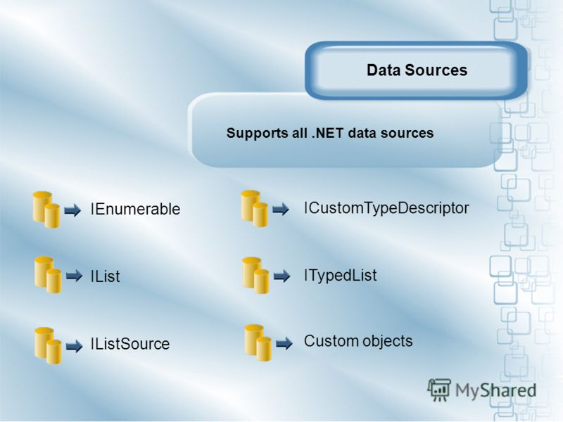 IEnumerable IList IListSource Supports all.NET data sources ICustomTypeDescriptor ITypedList Custom objects Data Sources