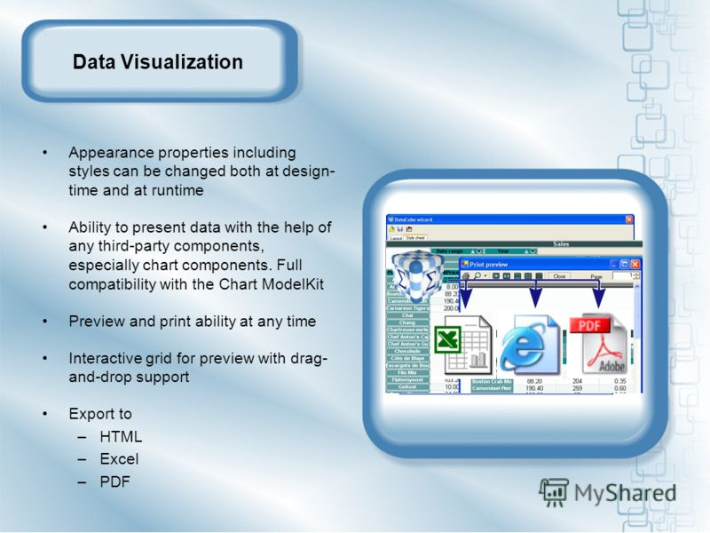 Data Visualization Appearance properties including styles can be changed both at design- time and at runtime Ability to present data with the help of any third-party components, especially chart components. Full compatibility with the Chart ModelKit