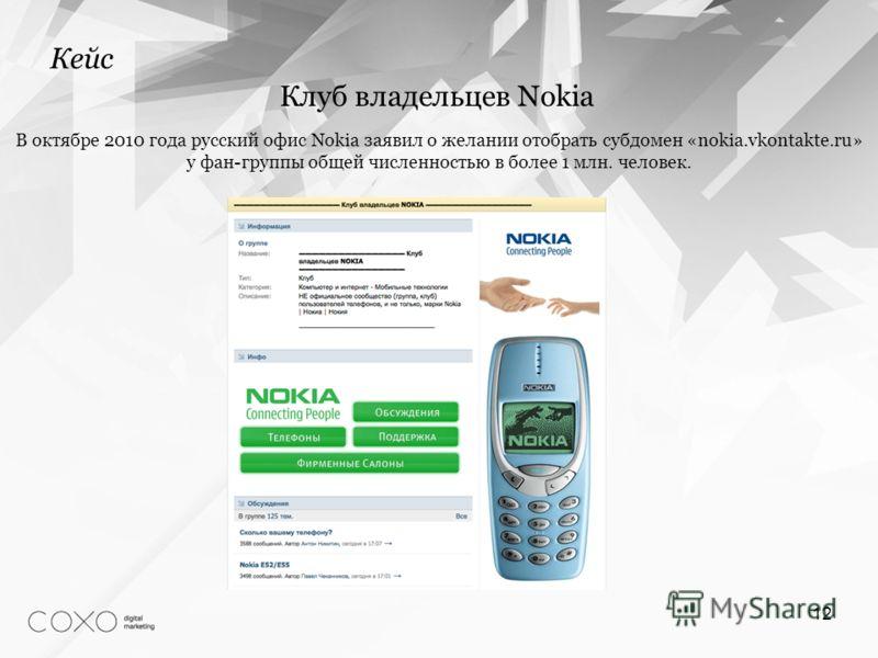 12 Кейс Клуб владельцев Nokia В октябре 2010 года русский офис Nokia заявил о желании отобрать субдомен «nokia.vkontakte.ru» у фан-группы общей численностью в более 1 млн. человек.