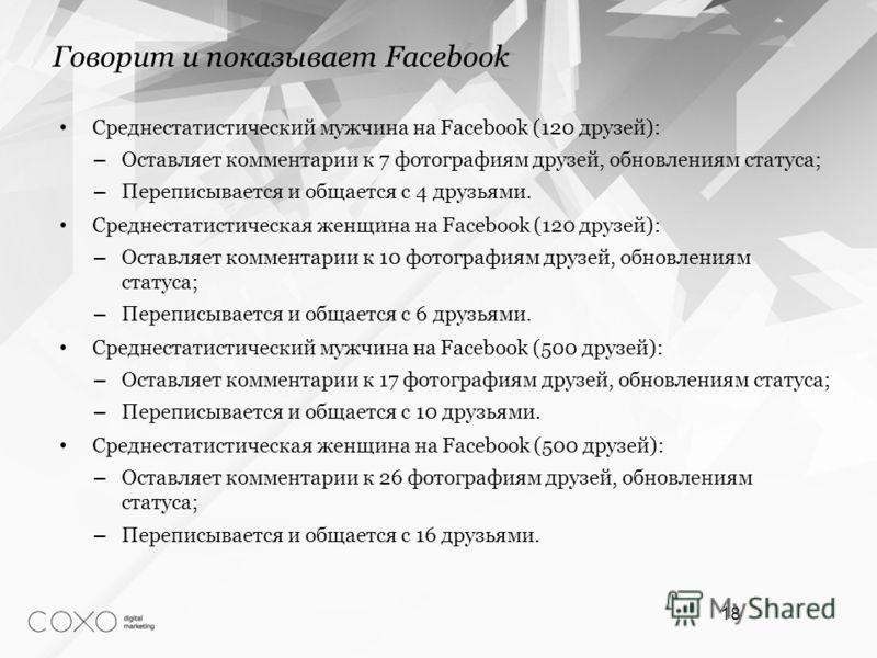 Среднестатистический мужчина на Facebook (120 друзей): – Оставляет комментарии к 7 фотографиям друзей, обновлениям статуса; – Переписывается и общается с 4 друзьями. Среднестатистическая женщина на Facebook (120 друзей): – Оставляет комментарии к 10