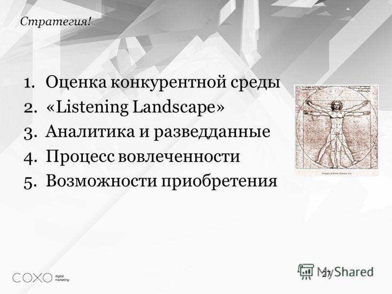 1.Оценка конкурентной среды 2.«Listening Landscape» 3.Аналитика и разведданные 4.Процесс вовлеченности 5.Возможности приобретения 27 Стратегия!