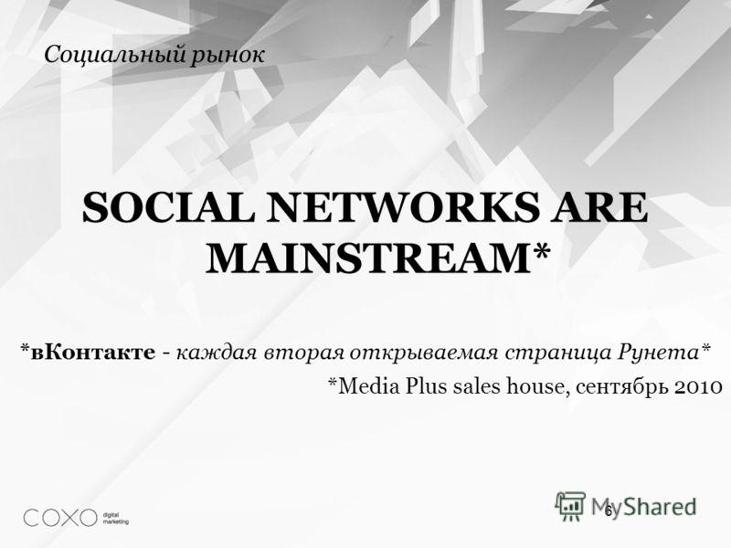 Социальный рынок SOCIAL NETWORKS ARE MAINSTREAM* *вКонтакте - каждая вторая открываемая страница Рунета* *Media Plus sales house, сентябрь 2010 6
