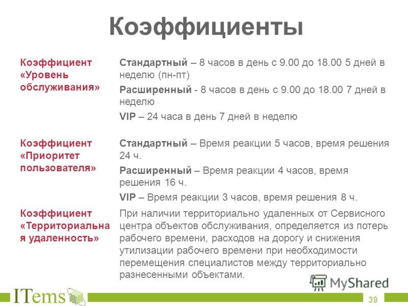Коэффициенты Коэффициент «Уровень обслуживания» Стандартный – 8 часов в день с 9.00 до 18.00 5 дней в неделю (пн-пт) Расширенный - 8 часов в день с 9.00 до 18.00 7 дней в неделю VIP – 24 часа в день 7 дней в неделю Коэффициент «Приоритет пользователя