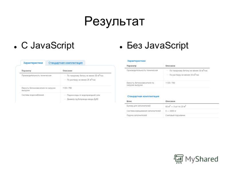 Результат С JavaScript Без JavaScript