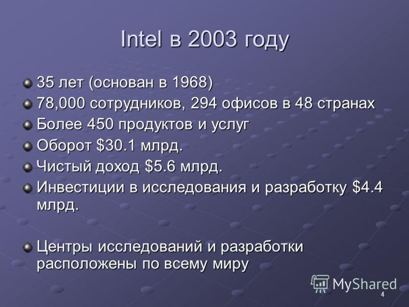 4 Intel в 2003 году 35 лет (основан в 1968) 78,000 сотрудников, 294 офисов в 48 странах Более 450 продуктов и услуг Оборот $30.1 млрд. Чистый доход $5.6 млрд. Инвестиции в исследования и разработку $4.4 млрд. Центры исследований и разработки располож
