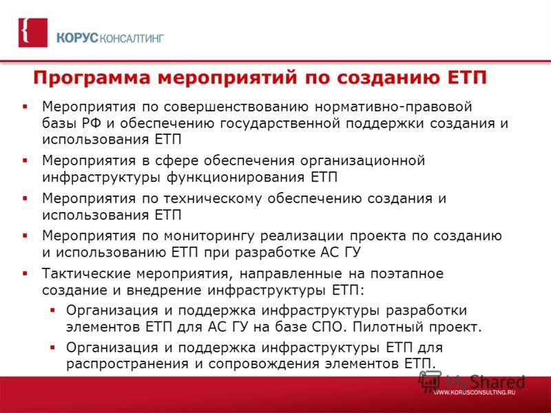 Программа мероприятий по созданию ЕТП Мероприятия по совершенствованию нормативно-правовой базы РФ и обеспечению государственной поддержки создания и использования ЕТП Мероприятия в сфере обеспечения организационной инфраструктуры функционирования ЕТ