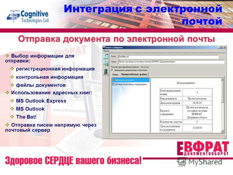 Отправка документа по электронной почты Интеграция с электронной почтой Выбор информации для отправки: регистрационная информация контрольная информация файлы документов Использование адресных книг: MS Outlook Express MS Outlook The Bat! Отправка пис