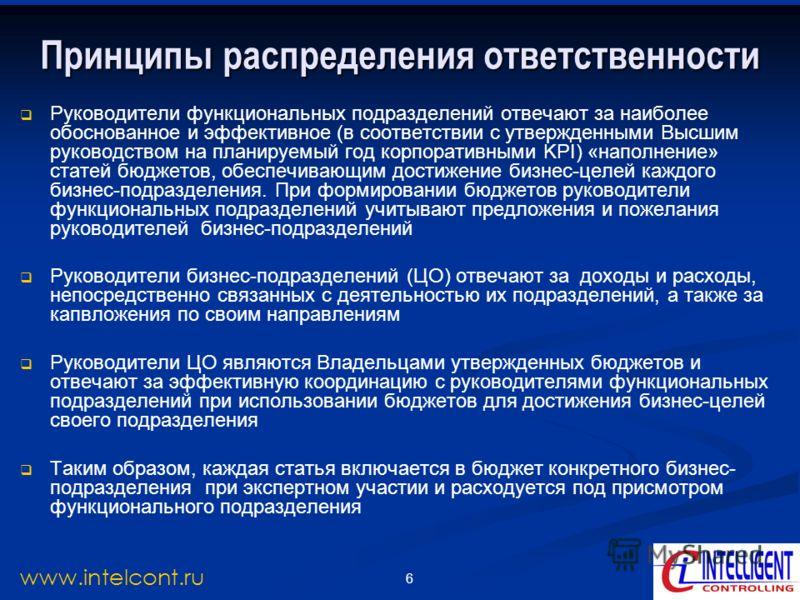 6 www.intelcont.ru Принципы распределения ответственности Руководители функциональных подразделений отвечают за наиболее обоснованное и эффективное (в соответствии с утвержденными Высшим руководством на планируемый год корпоративными KPI) «наполнение