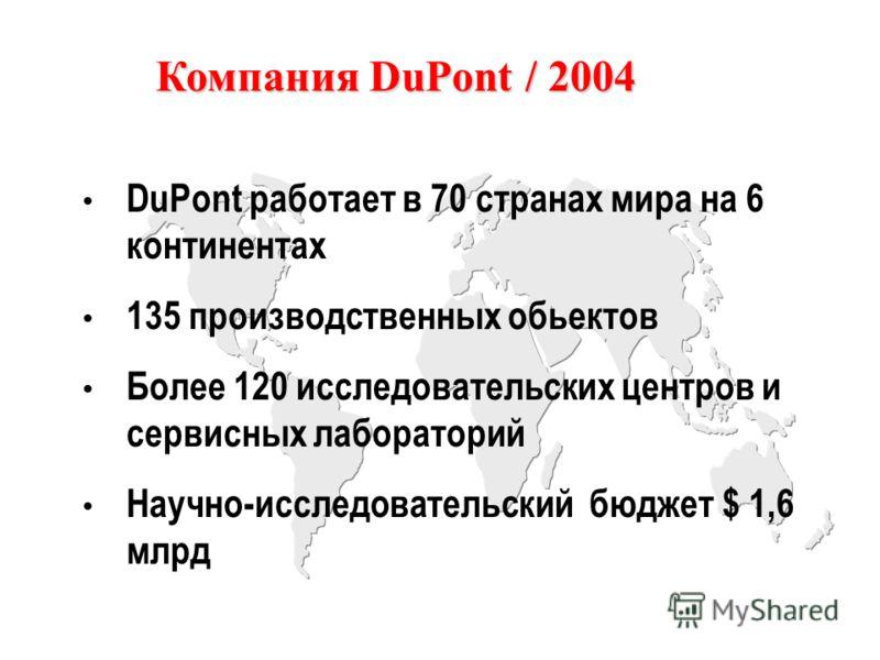 DuPont работает в 70 странах мира на 6 континентах 135 производственных обьектов Более 120 исследовательских центров и сервисных лабораторий Научно-исследовательский бюджет $ 1,6 млрд Компания DuPont / 2004