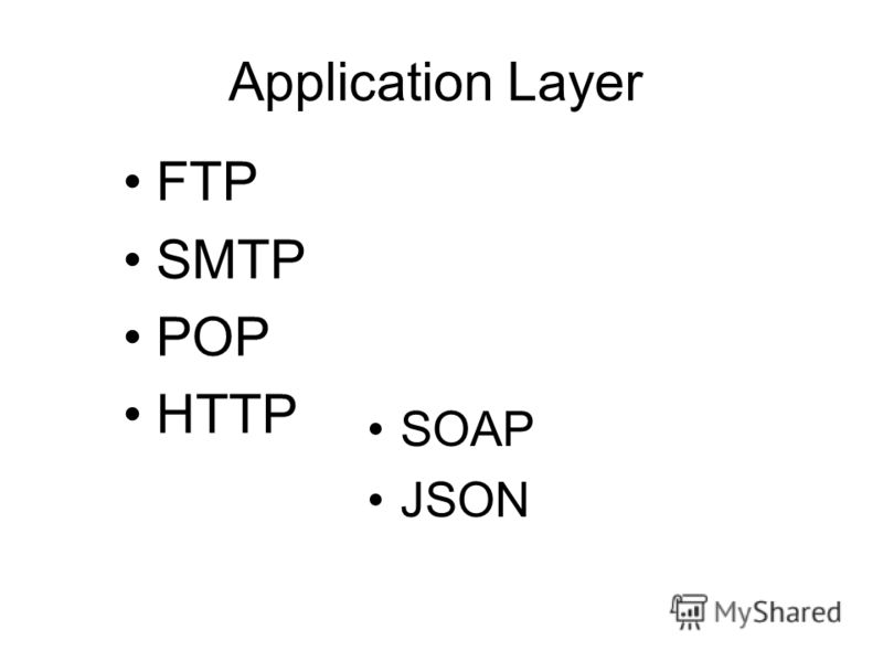 Application Layer FTP SMTP POP HTTP SOAP JSON