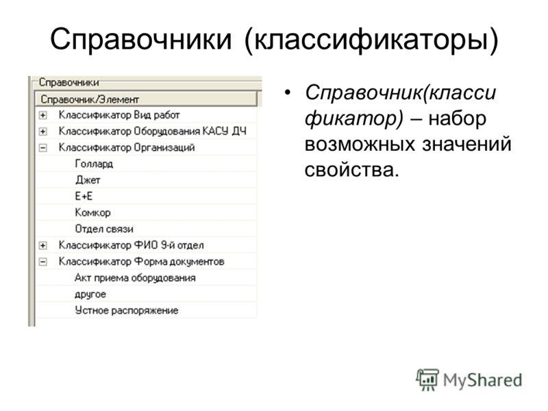 Справочники (классификаторы) Справочник(класси фикатор) – набор возможных значений свойства.