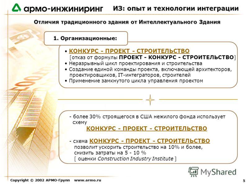 Copyright © 2002 АРМО-Групп www.armo.ru 5 Отличия традиционного здания от Интеллектуального Здания КОНКУРС - ПРОЕКТ - СТРОИТЕЛЬСТВО [отказ от формулы ПРОЕКТ - КОНКУРС - СТРОИТЕЛЬСТВО ] Неразрывный цикл проектирования и строительства Создание единой к