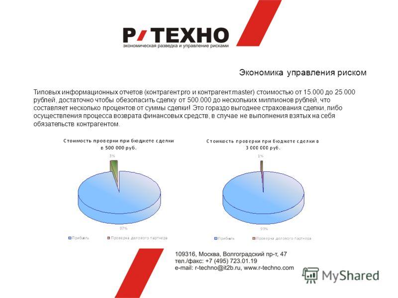 Экономика управления риском Типовых информационных отчетов (контрагент.pro и контрагент.master) стоимостью от 15.000 до 25.000 рублей, достаточно чтобы обезопасить сделку от 500.000 до нескольких миллионов рублей, что составляет несколько процентов о