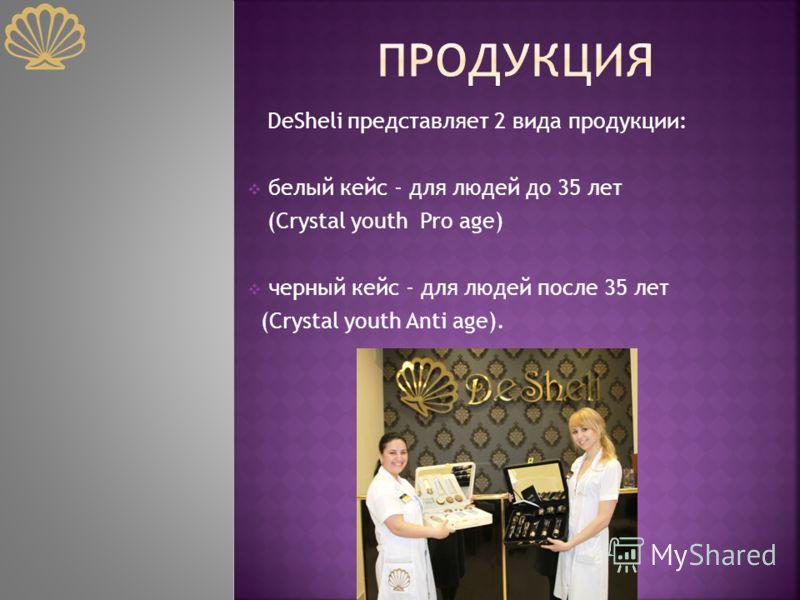 DeSheli представляет 2 вида продукции: белый кейс - для людей до 35 лет (Crystal youth Pro age) черный кейс - для людей после 35 лет (Crystal youth Anti age).