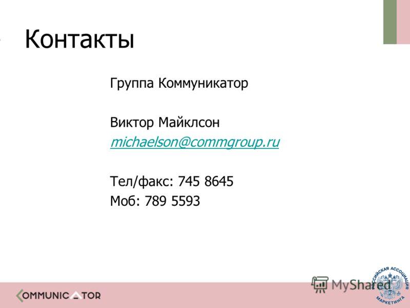 Контакты Группа Коммуникатор Виктор Майклсон michaelson@commgroup.ru Тел/факс: 745 8645 Моб: 789 5593