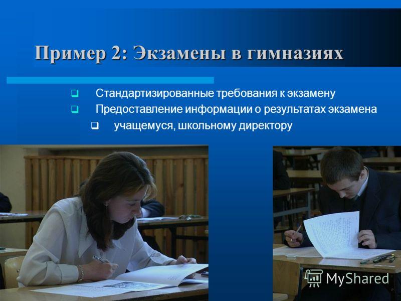 6 Стандартизированные требования к экзамену Предоставление информации о результатах экзамена учащемуся, школьному директору