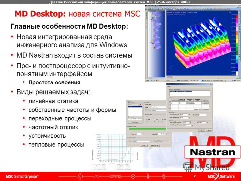 2 Девятая Российская конференция пользователей систем MSC | 25-26 октября 2006 г. MD Desktop: новая система MSC Главные особенности MD Desktop: Новая интегрированная среда инженерного анализа для Windows MD Nastran входит в состав системы Пре- и пост