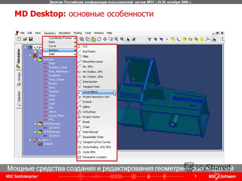 8 Девятая Российская конференция пользователей систем MSC | 25-26 октября 2006 г. Мощные средства создания и редактирования геометрических моделей MD Desktop: основные особенности