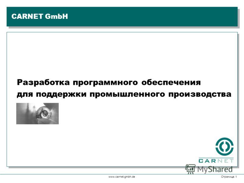 www.carnet-gmbh.deСтраница: 1 Разработка программного обеспечения для поддержки промышленного производства CARNET GmbH