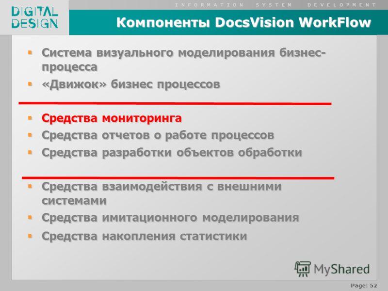 I N F O R M A T I O N S Y S T E M D E V E L O P M E N T Page: 52 Компоненты DocsVision WorkFlow Система визуального моделирования бизнес- процесса Система визуального моделирования бизнес- процесса «Движок» бизнес процессов «Движок» бизнес процессов