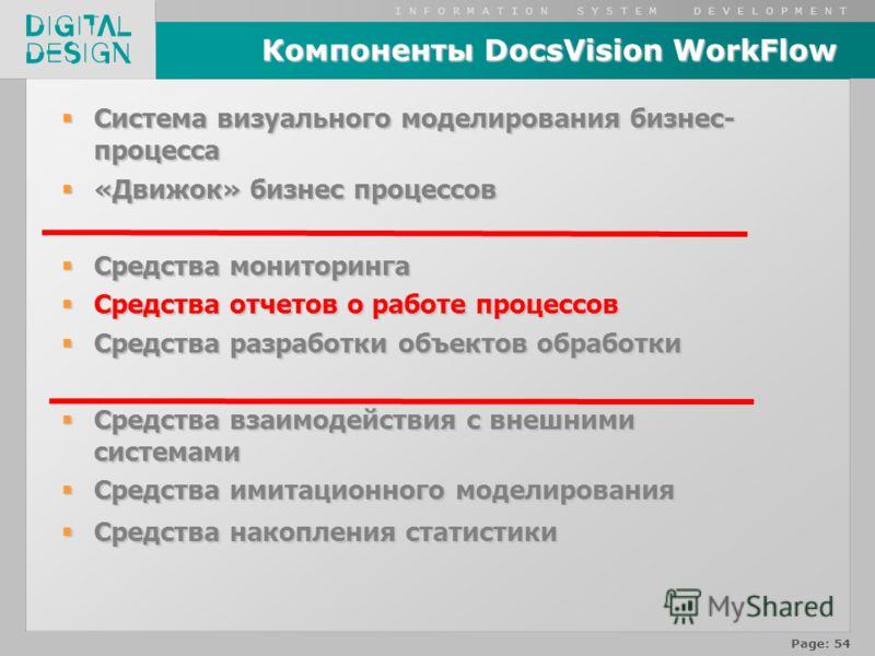 I N F O R M A T I O N S Y S T E M D E V E L O P M E N T Page: 54 Компоненты DocsVision WorkFlow Система визуального моделирования бизнес- процесса Система визуального моделирования бизнес- процесса «Движок» бизнес процессов «Движок» бизнес процессов