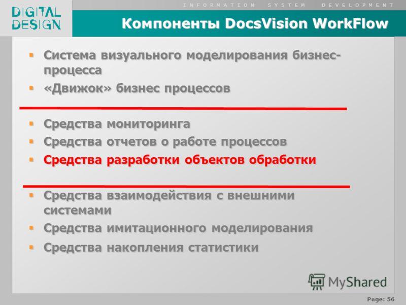 I N F O R M A T I O N S Y S T E M D E V E L O P M E N T Page: 56 Компоненты DocsVision WorkFlow Система визуального моделирования бизнес- процесса Система визуального моделирования бизнес- процесса «Движок» бизнес процессов «Движок» бизнес процессов