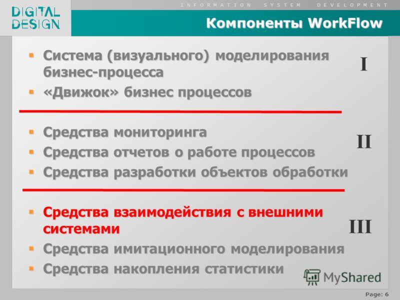 I N F O R M A T I O N S Y S T E M D E V E L O P M E N T Page: 6 Компоненты WorkFlow Система (визуального) моделирования бизнес-процесса Система (визуального) моделирования бизнес-процесса «Движок» бизнес процессов «Движок» бизнес процессов Средства м
