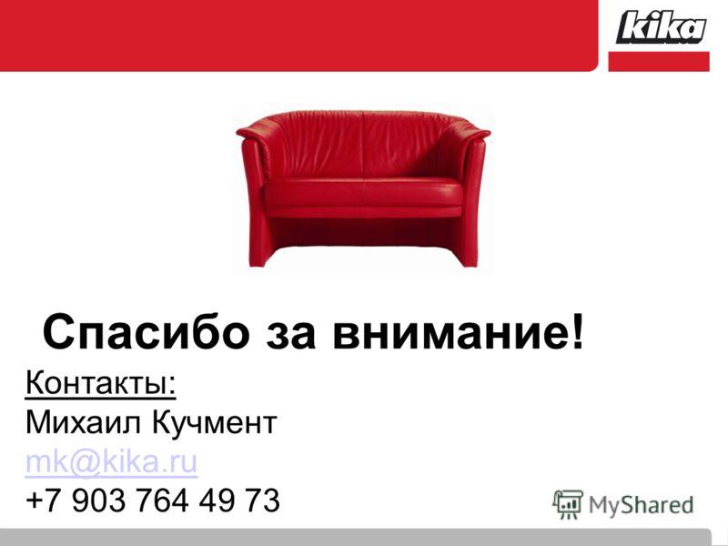 Спасибо за внимание! Контакты: Михаил Кучмент mk@kika.ru +7 903 764 49 73