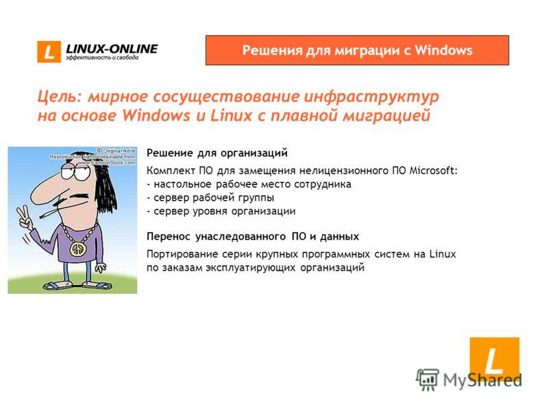 Решения для миграции с Windows Перенос унаследованного ПО и данных Портирование серии крупных программных систем на Linux по заказам эксплуатирующих организаций Решение для организаций Комплект ПО для замещения нелицензионного ПО Microsoft: - настоль